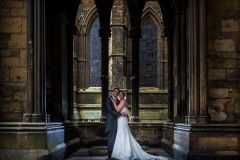 bride and groom at lincoln cathedral Lincolnshire Wedding Photographer