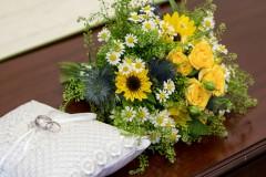 wedding flowers and wedding ring