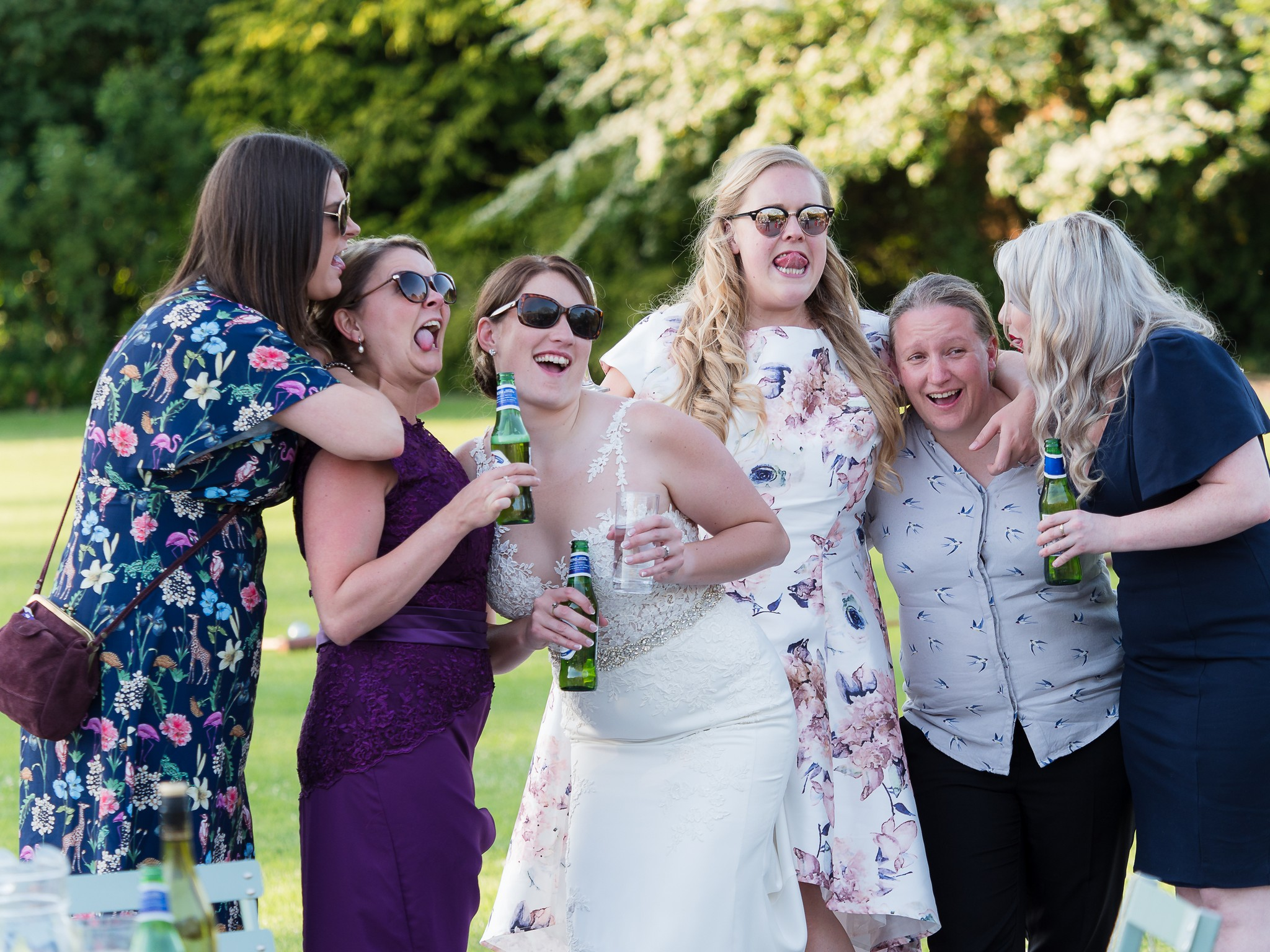 group of friends at a wedding