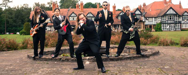 Groom party in front of The Petwood Hotel